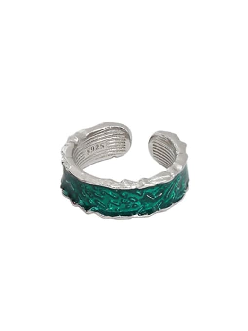 Platinum [green] 925 Sterling Silver Enamel Irregular Vintage Band Ring